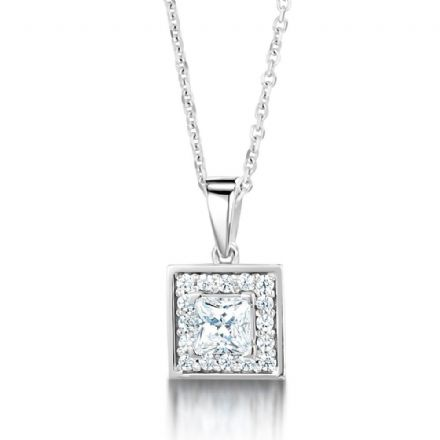18ct White Gold  G, VS  Diamond pendant princess cut centre with cluster halo on plain swinging bail